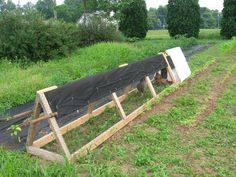 Movable chicken coop my husband made to fit between the rows in our garden, so the chickens could scratch up the soil.