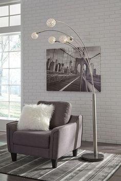 b3e15c64f148 Ashley Winter Silver Finish Metal Arc Lamp (1/CN) 5 Light Floor Lamp