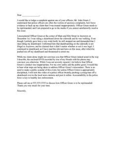 Formal complaint letter template httpresumesdesignformal perfect for civil protests against police officers this law enforcement complaint letter covers an infraction dispute free to download and print thecheapjerseys Choice Image