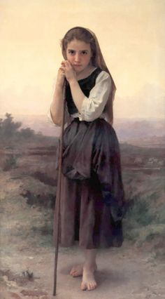 """William Adolphe Bouguereau (1825-1905) 1891  Petite Bergere  Oil on canvas  86.5 x 155.5 cm  (34.06"""" x 5' 1.22"""")  Private collection"""