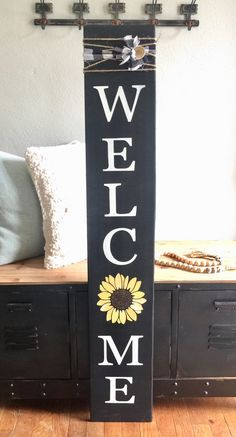 EtsyWooden welcome sign, porch sign, sunflower welcome…New Great DIY Ideas For Pallet Signs - Pallet DIY Projects & Decoration - Welcome Signs Front Door, Wooden Welcome Signs, Front Porch Signs, Front Doors, Front Porches, Wooden Wedding Signs, Rustic Signs, Wood Signs, Diy Signs