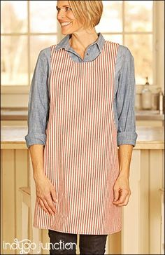 Indygo Junction's Crossback Reversible Apron pattern slips on over your head & is ideal for kitchen or garden work. Adult & child versions are included with multiple sizes for both. Patch pocket provided. The crossback straps make fitting a breeze. Adult sizes: S/M, L/XL, 2XL/3XL Child sizes: S (4/5), M (6/8), L (10) $14.99