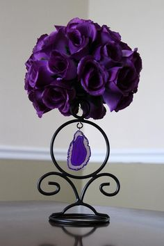 One of our centerpieces. Purple rose pommander on an agate candle holder I found for 3 bucks while on vaca in Florida. Small Purple Flowers, Purple Love, All Things Purple, Purple Rain, Purple Grey, Shades Of Purple, Deep Purple, Pretty Flowers, Purple Stuff