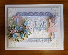 Just for you fairy card with basket of flowers.