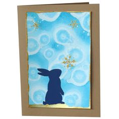 Rabbit and the Snowflake CAD) by fmhandpaintedcards Paint Cards, Snowflakes, Rabbit, Hand Painted, Unique Jewelry, Frame, Handmade Gifts, Prints, Etsy