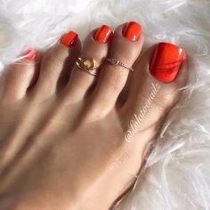 "Lola, Official Page on Instagram: ""It's time to change my pedicure. . What color do you prefer?? Black, Green or French??  #ilovemyfeet #orangenails #toerings"""