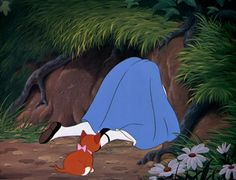 Sweet Dinah watches as Alice goes down the rabbit hole!