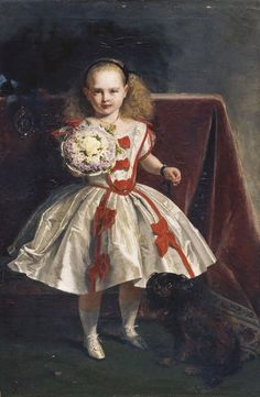 Princess Beatrice as a Child c.1860 by John Phillip, painted for Queen Victoria and given as a birthday present to Prince Albert on the 26th August 1860 (Royal Collection)