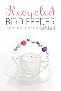 Recycled Bird Feeder - great use for those non-matching crystal pieces at thrift stores!