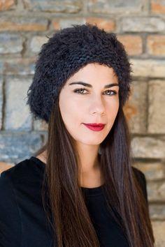 Winter Womens Beanie Beret Hat Handmade slouch beanie by PlexisArt
