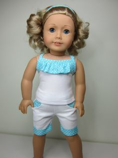 American Girl doll clothes  white 4 pocket shorts by JazzyDollDuds, $21.00