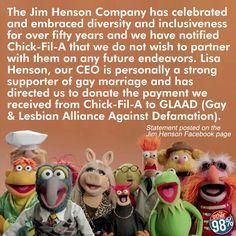 Muppets-YEA!   Chick-Fil-A-BOO!