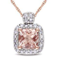 Sofia B 2/3 CT TW Diamond and Pink Morganite 10K Rose Gold Pendant Necklace
