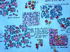 Tiny different style flowersBlueCotton Hand by HeavenKnow on Etsy