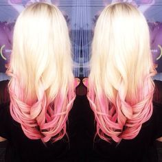 Blonde and pink hair - Like this, might try it next time I dye my hair...