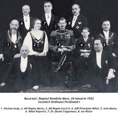 Queen Marie, King Carol II, and Prince (King) Michael of Romania with Members of the Order of Ferdinand I, Bucarest, 1932 Michael I Of Romania, Romanian Royal Family, Central And Eastern Europe, Imperial Russia, Royal Jewels, Ferdinand, Old Photos, Famous People, The Past