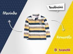 Olha só que estiloso esse blusão polo listrado! Nós adoramos essa tendência de moda infantil #temqueter #lookbrandili