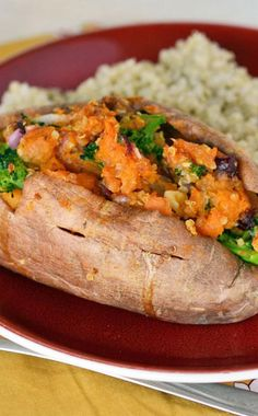 These Twice Baked Walnut Broccoli Sweet Potatoes bring together a medley of flavors and textures for your dinner table. The subtle crunch of quinoa plus the tartness of dried cranberries add a tantalizing complexity to this dish.