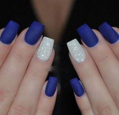 Stunning Cobalt Blue Nails For Elegant Ladies Royal Blue Nails With Silver Accents;blue manicure;blue nail designs;Blue Gel;Nail Polish;blue nail art;rhinestone nails; - Nail Designs Cobalt Blue Nails, Blue And Silver Nails, Blue Gel Nails, Dark Blue Nails, Navy Nails, Blue Acrylic Nails, Acrylic Nail Designs, Nail Art Blue, Silver Glitter