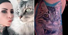 Woman gets a tattoo of her cat made from her cat's actual fur