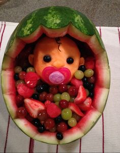 Cute baby shower idea to display fruits
