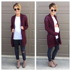 Long cardigan, distressed denim, booties, leather earrings