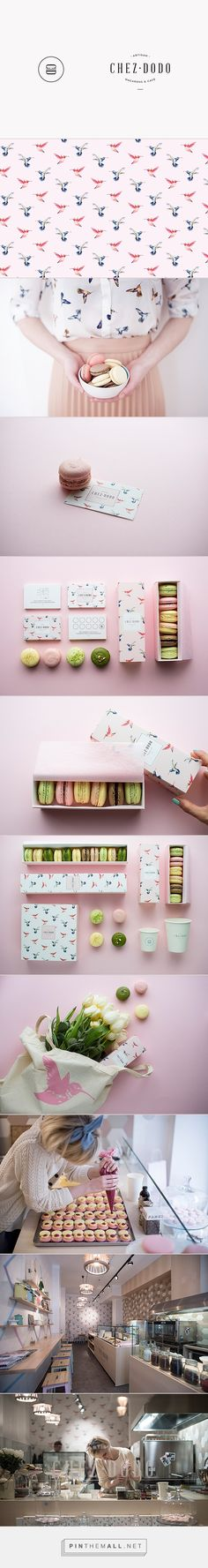 Branding for CHEZ DODO: Absolutely adore this charming brand for a macaron manufacturer. Love the logo mark and the pattern. Great work.