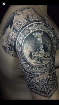 Thor's hammer shoulder sleeve tattoo - My list of best tattoo models Thor Hammer Tattoo, Thor Tattoo, Norse Tattoo, Celtic Tattoos, Viking Tattoos, 3d Tattoos, Viking Ship Tattoo, Latest Tattoos, Tattoo Ink