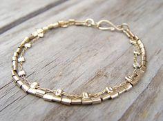 Gold Bracelet Gold Filled Two Strands Bracelet  by ravitschwartz, $97.00