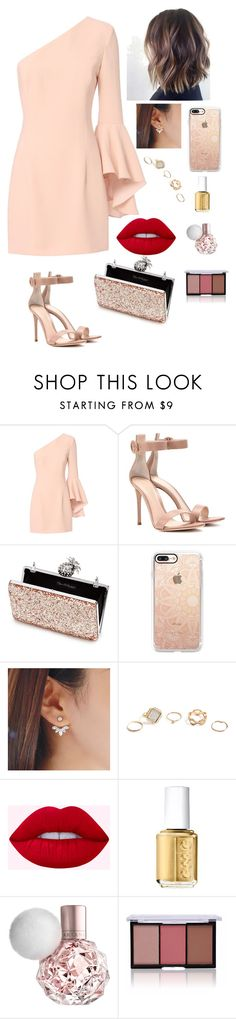 """""""party time"""" by gvantsa-i ❤ liked on Polyvore featuring Exclusive for Intermix, Gianvito Rossi, Miss Selfridge, Casetify, GUESS and Essie"""