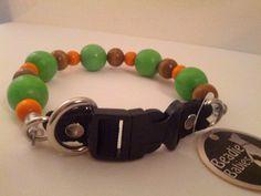 Orange and Green Unbreakable Beaded Dog Collars by BeadieBabiez