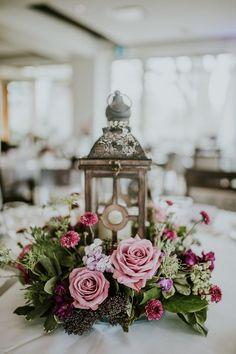 Lantern Wedding Centrepiece - Purple Wedding Flowers #weddings #wedding #weddingcolors #weddingideas #beautiful #dresses #bridesmaid #purple #mauve
