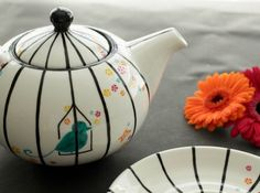 Large Teapot from the Haiku collection.Inspired by the poetry of traditional Japanese designs. Hand Painted Ceramics by artist Caro Spinette. Photo by Kate Sims