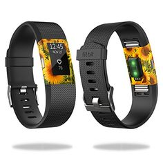 MightySkins Skin Compatible with Fitbit Charge 2 - Sunflowers | Protective, Durable, and Unique Vinyl Decal wrap Cove... Fitbit Charge, Fitbit Flex, Amazon Image, How To Remove, How To Apply, Sell On Amazon, Sunflowers, Vinyl Decals, Cell Phone Accessories