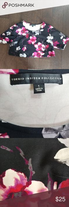 Torrid Floral Crop Top The floral crop top from the Torrid Insider Collection 2015. Stretchy fabric. Comfortable. Half of a set. NEVER BEEN WORN. torrid Tops Crop Tops