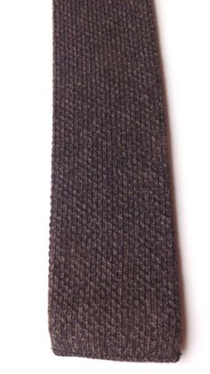 Vintage KNITTED SKINNY NECK TIE Brown Wool Blend MOD SCOOTER FREE P&P #NeckTie