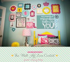 So many fantastic wall displays! This bright and fun one reminds me of Lydia's room. Think I may need a few of these for her wall display! Laura Winslow Photography Wall Art Love Contest Finalist Ginny Phillips 4