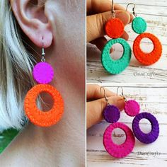 More colorful retro earrings... ** Ready to ship ** ...Visit my Etsy shop DusiCrafts.Etsy.com . Made out of pure wool felt and totally… Diy Earrings Studs, Etsy Earrings, Earrings Handmade, Black Earrings, Felt Diy, Felt Crafts, Wool Felt Fabric, Felt Necklace, Fabric Jewelry