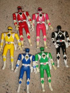 """Auto-Morphin Power Rangers (""""Flip-Head"""") Action Figures, 1994 My brother and I got these for our birthdays! I miss the good old days...."""