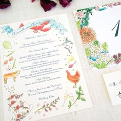 Hand Watercolored Illustration  Wedding Invitation honey-paper.com #santaynezwedding #santabarbarawedding