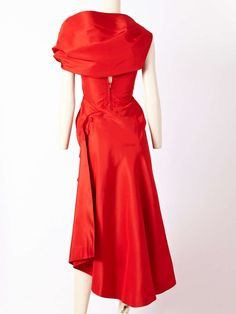 Charles James Spiral Dress | From a collection of rare vintage evening dresses at https://www.1stdibs.com/fashion/clothing/evening-dresses/ rear back photo shawl draping cowl back
