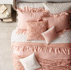 Obsessed with the Tattered Ruffle & Manuscript Percale Bedding Collection #RHTEEN