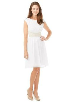 I like this ....Cato Fashions White Sheer Crochet Waist Dress #catosummerstyle  #CatoFashions
