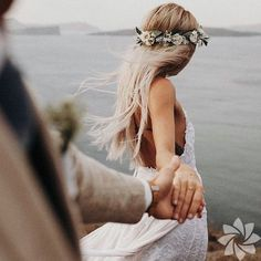 bohemian bride wearing flower crown and lace wedding dress with spaghetti straps bohemisk brud som b Wedding Goals, Wedding Couples, Trendy Wedding, Wedding Pictures, Boho Wedding, Perfect Wedding, Wedding Day, Wedding Beach, Beach Wedding Photos