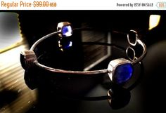 SALE Blue Lapis BangleLarge 925 Sterling Silver by taneesijewelry