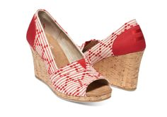 Scarlet Multi Cross Stitch Cork Women's Classic Wedges | TOMS