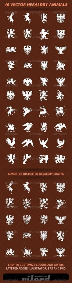 "40 Vector Heraldry Animals #GraphicRiver Set of 40 vector heraldry animals and creatures shapes for your graphic designs. Great for print or web design! Enjoy Adobe Illustrator is main file and ""fully editable"". Also transparent PNG and EPS files in the package. BONUS : 20 distorted heraldry shapes also included. Created: 16March12 GraphicsFilesIncluded: TransparentPNG #VectorEPS #AIIllustrator:"