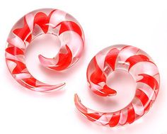 """8g+-+5/8""""+Pyrex+Glass+RED/WHITE+SPIRAL+-+Price+Per+1+-+8g+-+5/8""""+Pyrex+Glass+RED/WHITE+SPIRAL+-+Price+Per+1  Classic+Plug+Design+made+from+glass.  As+this+is+hand+made.+No+2+pieces+will+be+100%+exactly+the+same.  Checkout+the+chart+below+to+see+how+long+these+are.+  Perfect+ear+jewelry"""