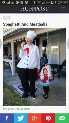 Family costumes. Sorry they are screen shots, couldn't pin from huffpost.  Chef and pasta
