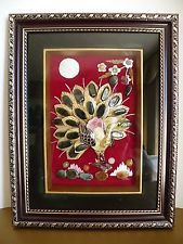 Polished Stones & Shells Handmade Peacock Artwork in Gold Tone Trim Frame